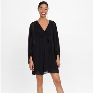 Zara Black Gathered Cape Dress